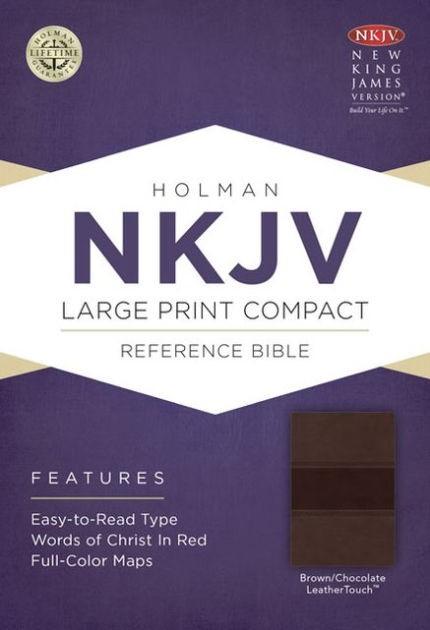 NKJV Large Print Compact Reference Bible, Brown/Chocolate (Imitation Leather)