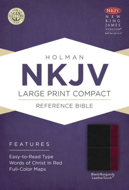 NKJV Large Print Compact Reference Bible, Black/Burgundy (Imitation Leather)