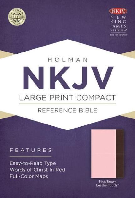 NKJV Large Print Compact Reference Bible, Pink/Brown (Imitation Leather)