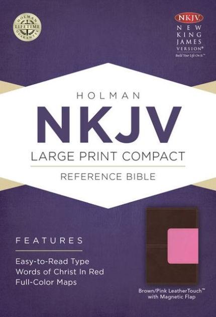 NKJV Large Print Compact Reference Bible, Brown/Pink (Imitation Leather)