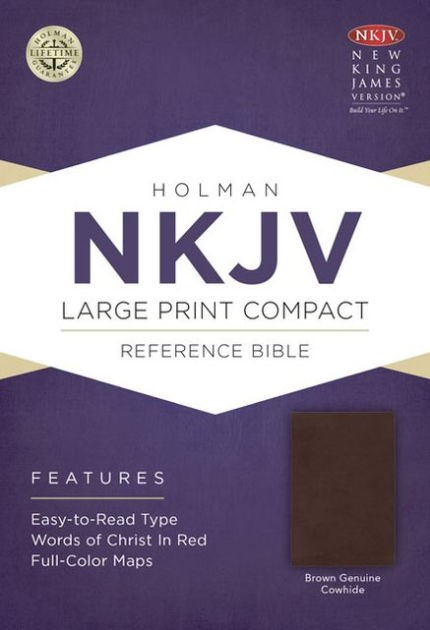 NKJV Large Print Compact Reference Bible, Brown Cowhide (Genuine Leather)