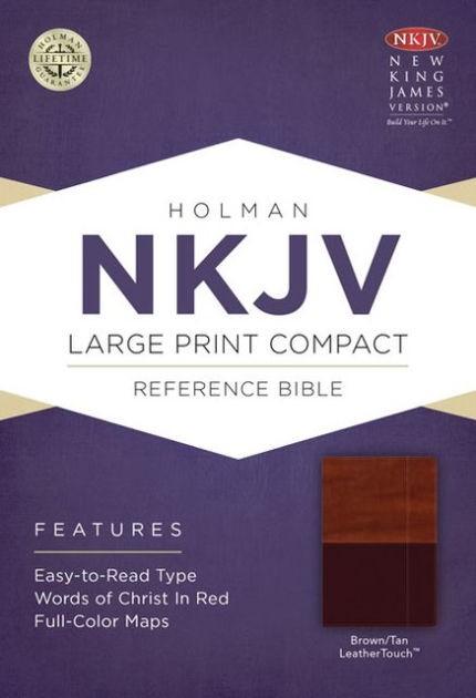 NKJV Large Print Compact Reference Bible, Brown/Tan (Imitation Leather)