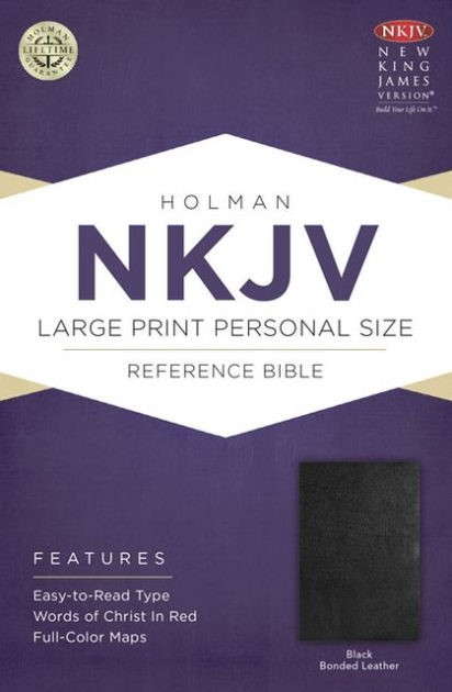 NKJV Large Print Personal Size Reference Bible, Black (Bonded Leather)