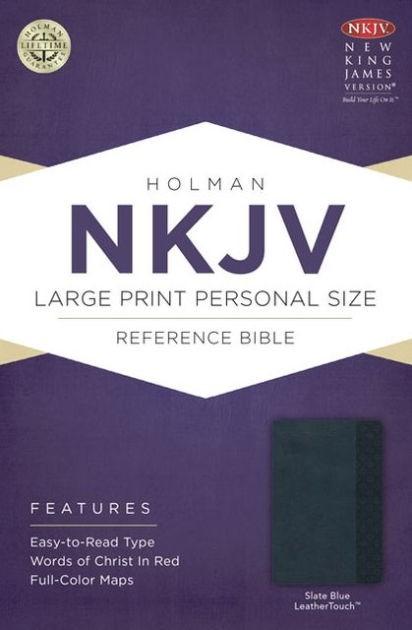 NKJV Large Print Personal Size Reference Bible, Slate Blue (Imitation Leather)