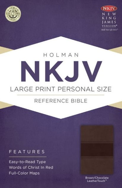 NKJV Large Print Personal Size Reference Bible, Brown (Imitation Leather)