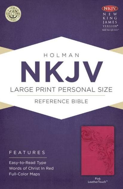 NKJV Large Print Personal Size Reference Bible, Pink (Imitation Leather)
