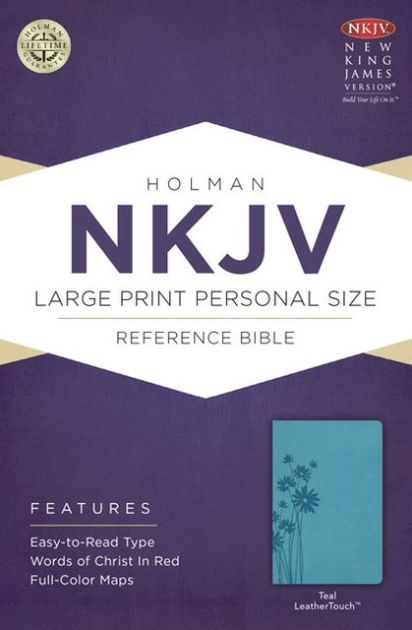 NKJV Large Print Personal Size Reference Bible, Teal (Imitation Leather)