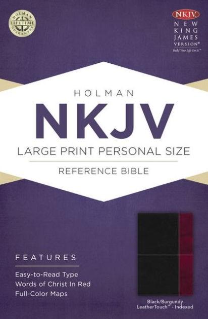 NKJV Large Print Personal Size Reference Bible, Black/Burgun (Imitation Leather)