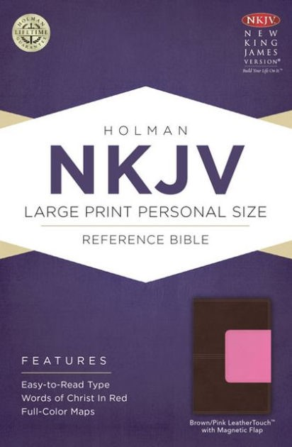NKJV Large Print Personal Size Reference Bible, Brown/Pink (Imitation Leather)