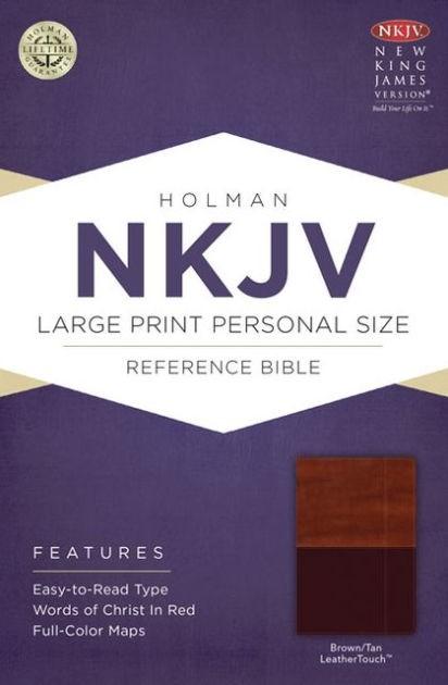 NKJV Large Print Personal Size Reference Bible, Brown/Tan (Imitation Leather)