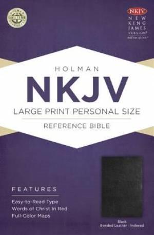 NKJV Large Print Personal Size Indexed Ref Bible, Black (Bonded Leather)