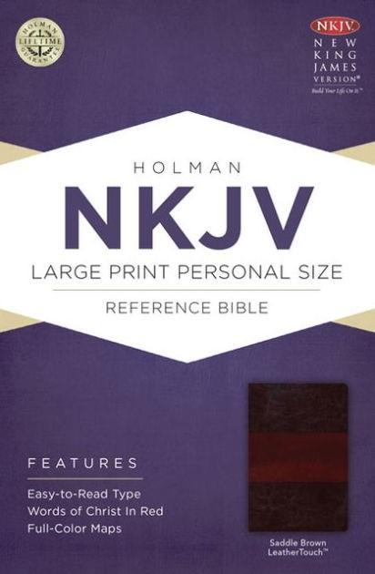 NKJV Large Print Personal Size Reference Bible, Saddle Brown (Imitation Leather)