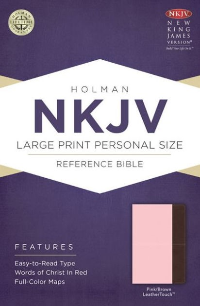 NKJV Large Print Personal Size Reference Bible, Pink/Brown (Imitation Leather)