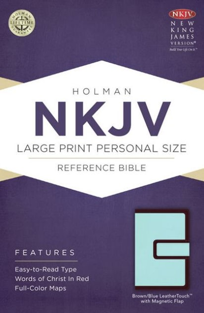 NKJV Large Print Personal Size Reference Bible, Brown/Blue (Imitation Leather)