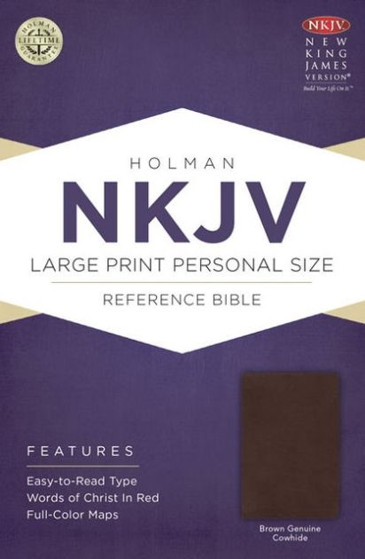 NKJV Large Print Personal Size Reference Bible, Brown (Genuine Leather)