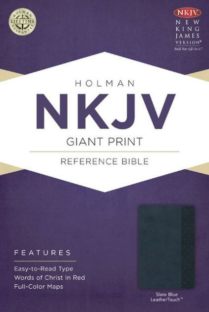 NKJV Giant Print Reference Bible, Slate Blue Leathertouch (Imitation Leather)
