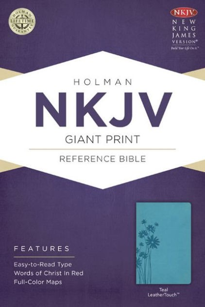 NKJV Giant Print Reference Bible, Teal Leathertouch (Imitation Leather)