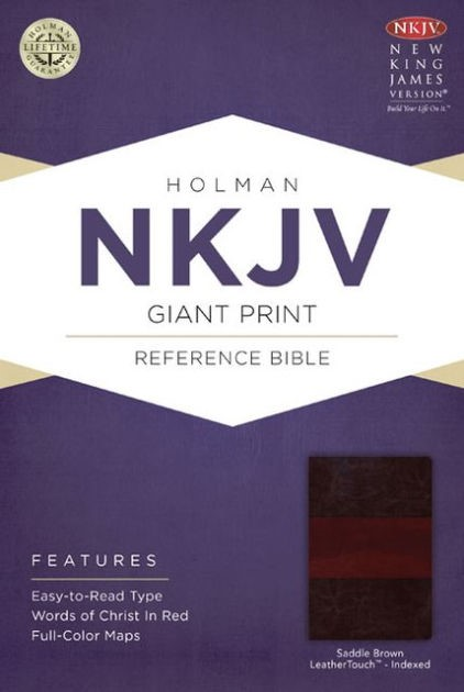 NKJV Giant Print Reference Bible, Saddle Brown Leathertouch (Imitation Leather)