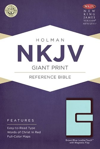 NKJV Giant Print Reference Bible, Brown/Blue Leathertouch (Imitation Leather)
