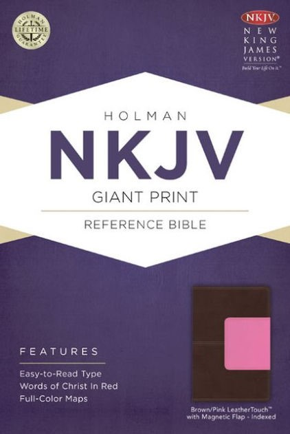 NKJV Giant Print Reference Bible, Brown/Pink Leathertouch (Imitation Leather)