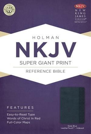 NKJV Super Giant Print Reference Bible, Slate Blue, Indexed (Imitation Leather)