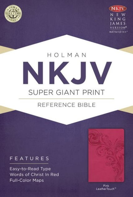 NKJV Super Giant Print Reference Bible, Pink Leathertouch (Imitation Leather)