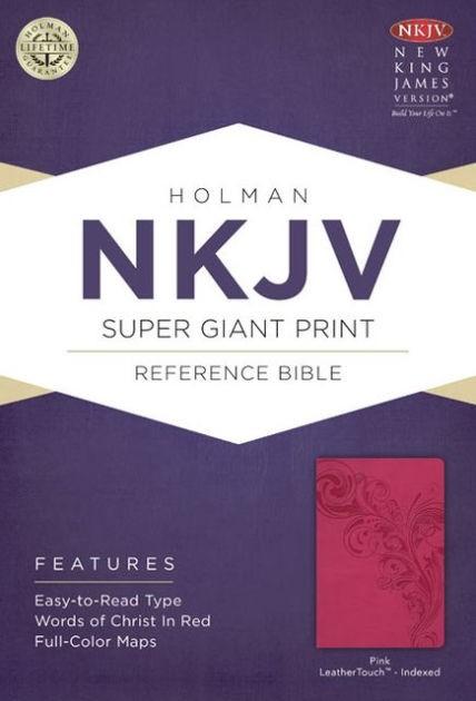 NKJV Super Giant Print Reference Bible, Pink, Indexed (Imitation Leather)