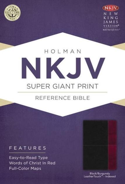 NKJV Super Giant Print Reference Bible, Black/Burgundy (Imitation Leather)