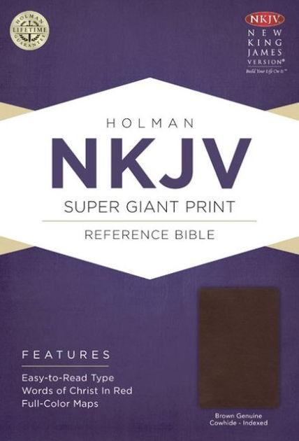 NKJV Super Giant Print Reference Bible, Brown (Genuine Leather)