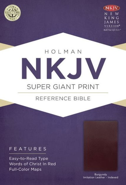 NKJV Super Giant Print Reference Bible, Burgundy (Imitation Leather)