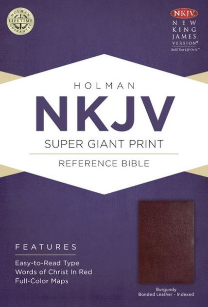 NKJV Super Giant Print Reference Bible, Burgundy (Bonded Leather)