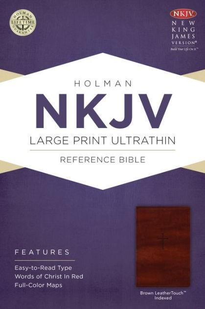 NKJV Large Print Ultrathin Reference Bible, Brown (Imitation Leather)