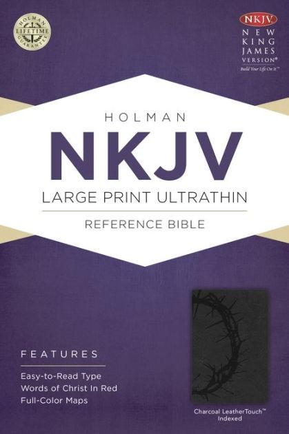 NKJV Large Print Ultrathin Reference Bible, Charcoal (Imitation Leather)