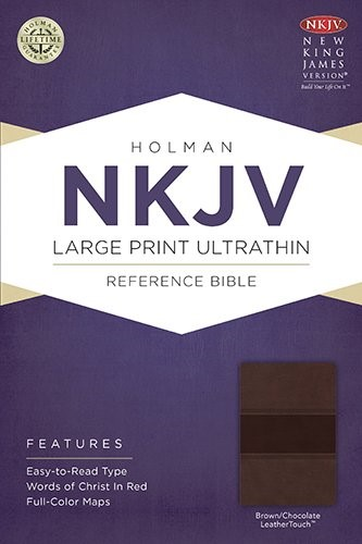 NKJV Large Print Ultrathin Reference Bible, Brown/Chocolate (Imitation Leather)