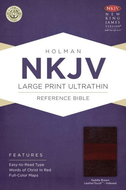 NKJV Large Print Ultrathin Reference Bible, Saddle Brown (Imitation Leather)
