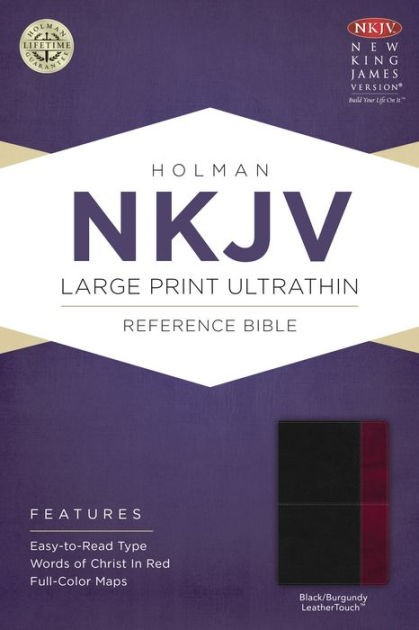 NKJV Large Print Ultrathin Reference Bible, Black/Burgundy (Imitation Leather)