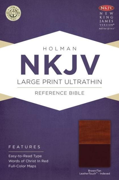 NKJV Large Print Ultrathin Reference Bible, Brown/Tan (Imitation Leather)