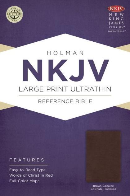 NKJV Large Print Ultrathin Reference Bible, Brown Genuine Co (Leather Binding)