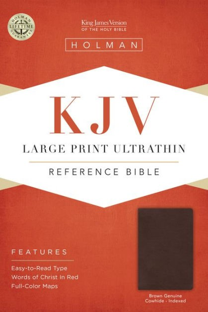 Kjv Large Print Ultrathin Reference Bible, Brown Genuine Cow (Leather Binding)