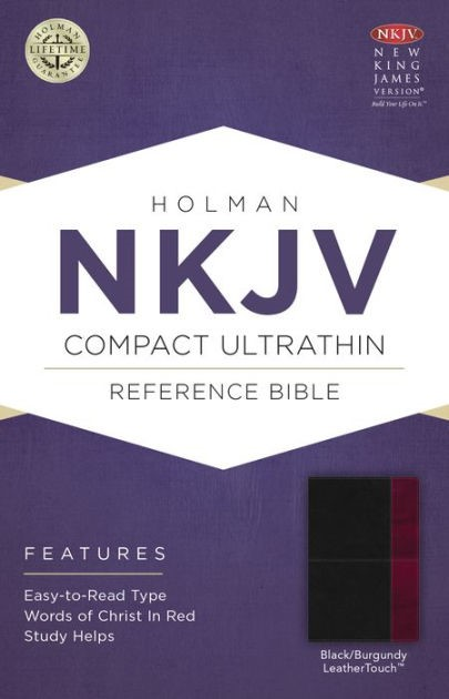 NKJV Compact Ultrathin Bible, Black/Burgundy Leathertouch (Imitation Leather)