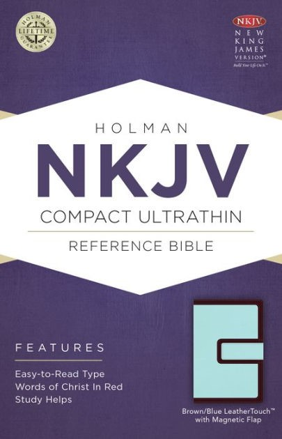 NKJV Compact Ultrathin Bible, Brown/Blue With Magnetic Flap (Imitation Leather)