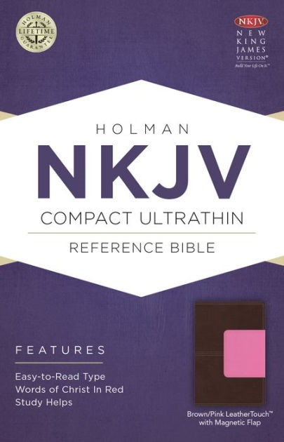 NKJV Compact Ultrathin Bible, Pink/Brown With Magnetic Flap (Imitation Leather)