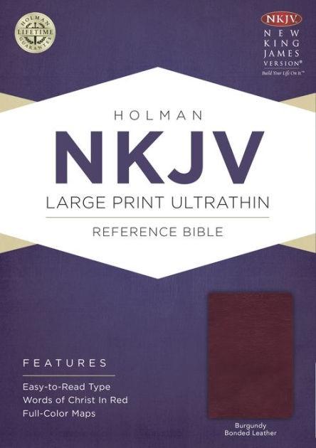 NKJV Large Print Ultrathin Reference Bible, Burgundy (Bonded Leather)