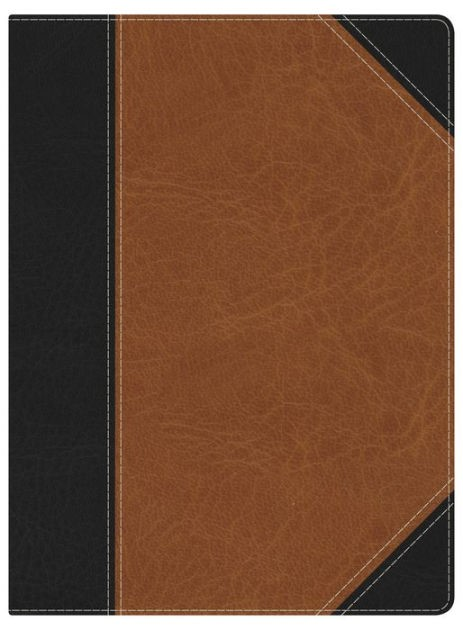 NKJV Holman Full-Color Study Bible Black/Tan Leathertouch (Imitation Leather)