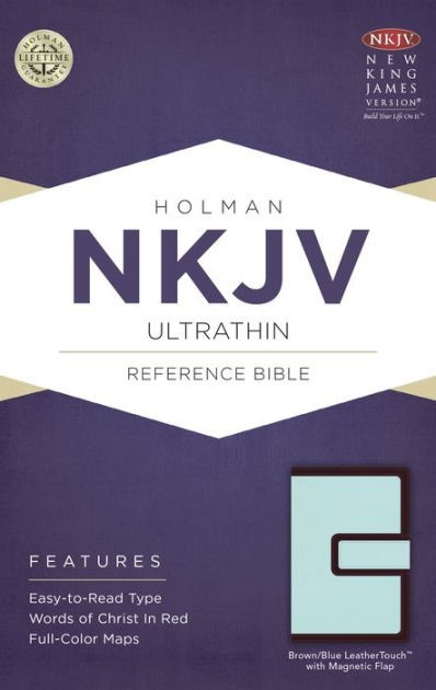 NKJV Ultrathin Reference Bible, Brown/Blue, Magnetic Flap (Imitation Leather)