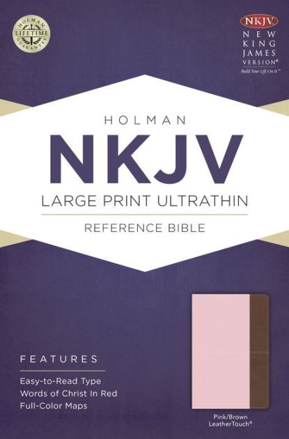 NKJV Large Print Ultrathin Reference Bible, Pink/Brown (Imitation Leather)