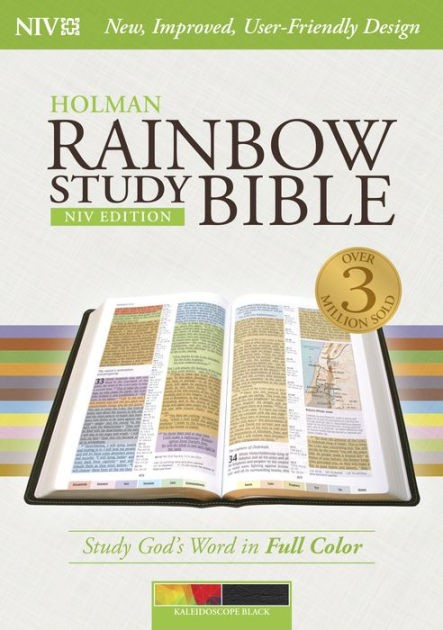 NIV Rainbow Study Bible, Kaleidoscope Black Leathertouch