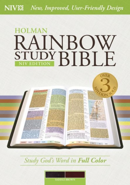 NIV Rainbow Study Bible, Saddle Brown Leathertouch (Imitation Leather)