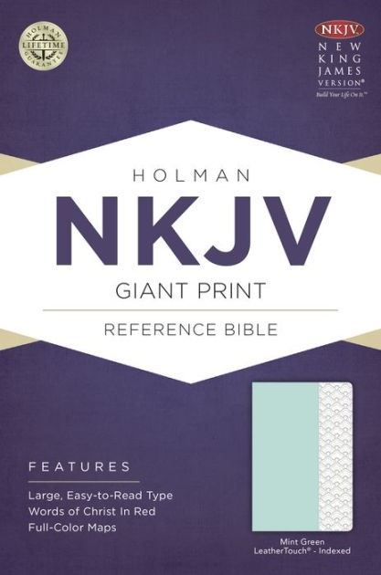 NKJV Giant Print Reference Bible, Mint Green, Indexed (Imitation Leather)