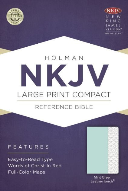 NKJV Large Print Compact Reference Bible, Mint Green (Imitation Leather)